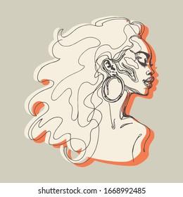 Schöne afrikanische Frau mit geschlossenen Augen. Sketching Umriss Modegrafik. Handgezeichnetes Porträt von hübschem Mädchen auf weißem Hintergrund.