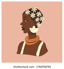 Beautiful African woman with flowers in her hair. Vector abstract portrait