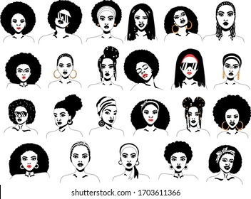 Beautiful african woman with hairstyle variations silhouette