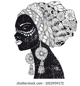 Beautiful african woman. Hand-drawn. Black and white. Coloring book page for adult and children. Zentangle style.