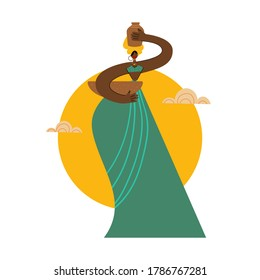 Beautiful African woman with a jug on her head in flat style. Vector illustration ethnic concept.