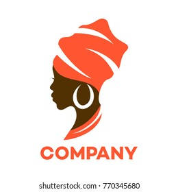Beautiful African woman logo