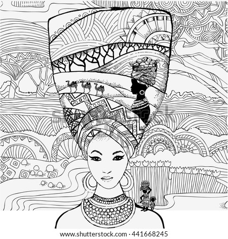 Beautiful African Woman On Background African Stock Vector ...