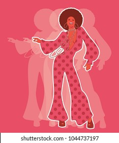 Beautiful afro american girl wearing clothes from the 60s or 70s dancing