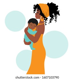 Beautiful afro american mother holding her baby in her arms on a white background. Mother's Day Vector Illustration