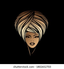 Beautiful Afro American woman with big blonde hair and elegant makeup.Beauty salon and hairdresser studio illustration.Cosmetics and spa logo isolated on dark background.