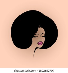 Beautiful Afro American woman with big hair and elegant makeup.Beauty salon and hairdresser studio illustration.Cosmetics and spa logo isolated on light background.