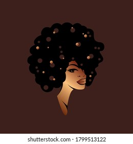 Beautiful Afro American woman with curly hair and elegant makeup.Gold decorative dots.Beauty salon and hairdresser studio illustration.Cosmetics and spa logo isolated on dark background.