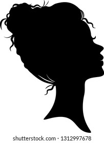 Beautiful afro woman head silhoutte, updo, bun hairstyle, face profile.