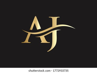 Beautiful AJ Logo for luxury branding. Elegant and stylish A G Logo design for your company in gold color.