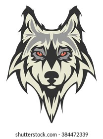 Beautiful albino wolf tattoo.Vector wolf's head as a design element on isolated background