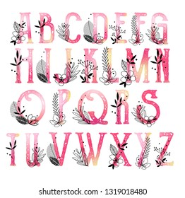 Beautiful alphabet monogram abc collection with floral ornaments