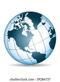 Beautiful America centered globe. Vector illustration.