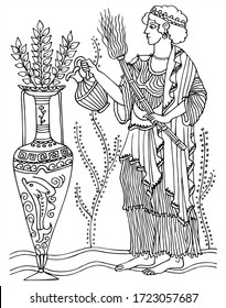 Beautiful ancient greek drawing on a woman and a big vase. Black and white vector for coloring, for card or gift.