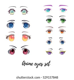 Beautiful anime and manga eyes big set. Different colors and shapes.