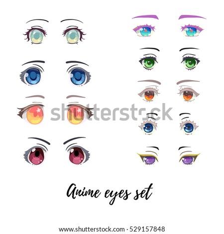 Beautiful Anime And Manga Eyes Big Set Different Colors Shapes