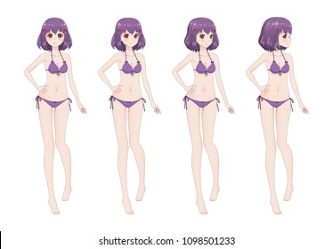Beautiful anime manga girl with long hair in swimsuit bikini. Different postures and turns of the head