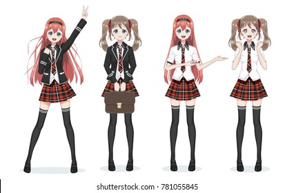 ea5c292da teen miniskirt. Beautiful anime manga schoolgirl. Plaid red skirt and tie  pattern of tartans. Black long