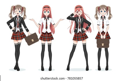 Beautiful anime manga schoolgirl. Plaid red skirt and tie pattern of tartans. Black long stockings, school bag in shirt and jacket. Full body in different poses. Cartoon character in Japanese style