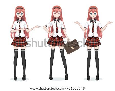 4b4d882cb Beautiful Anime Manga Schoolgirl Plaid Red Stock Vector (Royalty ...