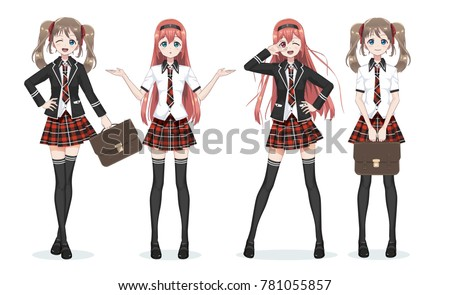 Beautiful Anime Manga Schoolgirl Plaid Red Skirt And Tie Pattern Of Tartans Black Long
