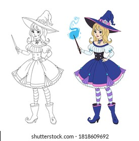 Beautiful anime witch holding magic wand. Blonde hair, blue dress and big hat. Hand drawn vector illustration for coloring book. Isolated on white