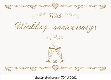 Congratulations 50 Golden Wedding Anniversary Stock Vector Royalty