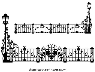 beautiful antique iron fence with street light and gates among rose flowers - black vector silhouette