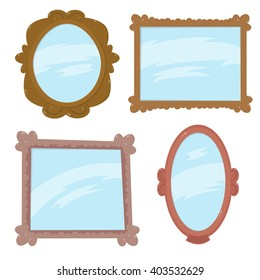 beautiful antique mirrors. funny cartoon mirrors in different forms and different framework. vector illustration.