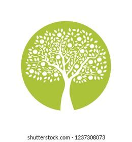 beautiful apple tree, green logo icon