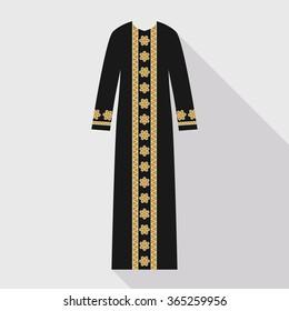 Beautiful arabian abaya in flat style. Muslim hijab, islamic female dress. Long dress in gold and black colors.