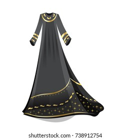 Beautiful arabian abaya in flat style. Muslim hijab, islamic female long dress in gold and black colors.