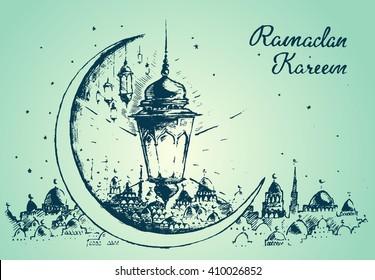 Beautiful Arabian lantern on green background, Ramadan celebration illustration, hand drawn