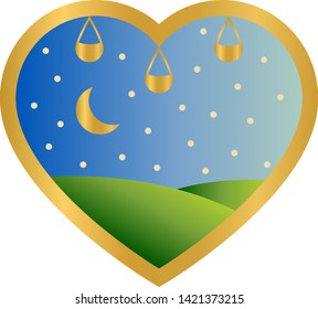 Beautiful arabic golden heart with a gradient landskape inside it (blue sky, green hills, stars and crescent moon) and three lamps,  vector graphics, vector illustrations