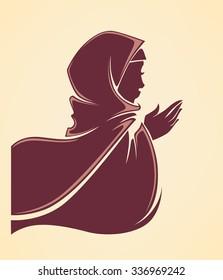 beautiful arabic muslim woman, vector illustration
