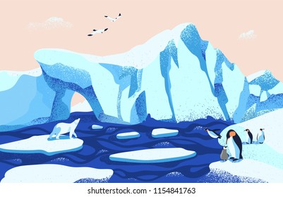 Beautiful Arctic or Antarctic landscape. Gorgeous scenery with large icebergs floating in ocean, polar bear, penguins and seagulls. Colorful vector illustration in modern flat cartoon style