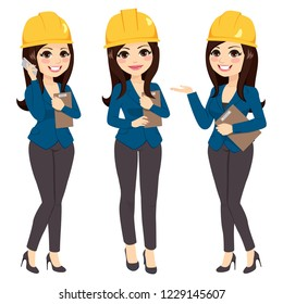 Beautiful arquitect woman on three different pose wearing yellow helmet