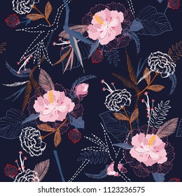 Beautiful artistic tropical flower pattern on sketch line dash seamless pattern vector in the dark night on navy blue background vector