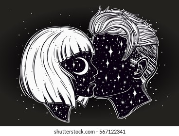 Beautiful artwork of young couple kissing. Outer space on their faces.Boho, tattoo art, spirituality, poster, T-shirt print, romantic love, character design.Isolated vector illustration.