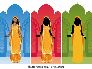 Beautiful asian woman in authentic traditional orange wedding sari on background palace interior color variation detailed figure and silhouette cartoon illustrations