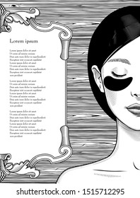 Beautiful Asian woman with eye Patches instruction smoothing deep wrinkles. Beautiful woman portrait. Beauty Treatments. Vintage prints stylized drawing. Vector illustration