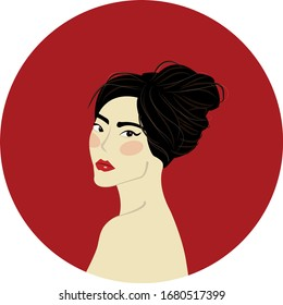 Beautiful Asian woman with red lips and black hair tied in a bunch on a red round background. Portrait of a woman. Vector illustration.