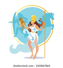 Beautiful Athena, Ancient Goddess of War, Philosophy and Wisdom. Athene Pallas Ancient Mythology Character with Spear and Owl Sitting on Hand. Woman with Great Power. Cartoon Flat Vector Illustration