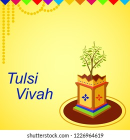 Beautiful and attractive design of tulsi plant and the colorful designer pot in a very professional design. This design can be used for the Indian festival of tulsi vivah celebration, pooja greetings.
