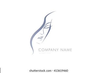 Beautiful attractive woman face logo sample, vector illustration