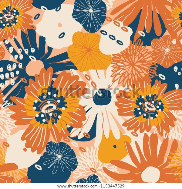 Beautiful autumn flower pattern.