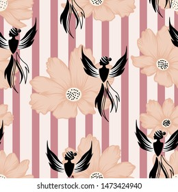 Beautiful autumn flowers and phoenix girl in a seamless pattern design, that can be used on the web or in print, for surface design
