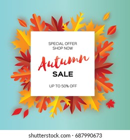 Beautiful Autumn paper cut leaves. Sale. September flyer template. Square frame. Space for text. Origami Foliage. Maple, oak. Fall poster background. Vector