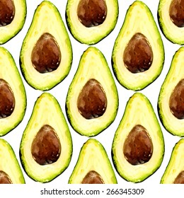 Beautiful avocado repeated pattern, consisted of halves of a fruit with pit. Vector illustration.