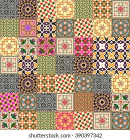 Beautiful Azulejo ornament vector collection. Seamless pattern with Portuguese folk art mosaic patterns. Traditional oriental mosaic background, patchwork design.